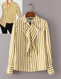 Vintage Yellow Color-matching Decorated Shirt