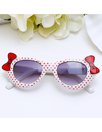Lovely White Bowknot Shape Decorated Children Sunglasses