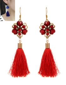 Vintage Red Flower Decorated Tassel Earrings