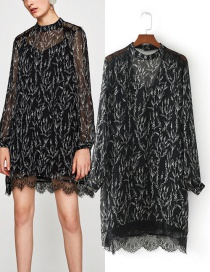 Elegant Black Lace Decorated Dress