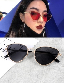 Vintage Black+gold Color Cat Eye Shape Decorated Sunglasses