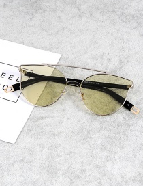 Fashion Light Green Cat Eye Shape Decorated Sunglasses