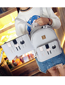 Cute Gray Cat Pattern Decorated Backpack (2pcs)