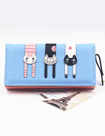 Cute Blue Cat Pattern Decorated Wallet