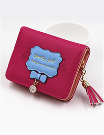 Lovely Plum-red Bowknot Shape Decorated Coin Purse