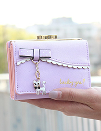 Elegant Purple Cat Pendant Decorated Coin Purse