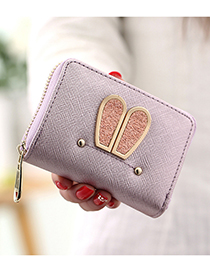 Elegant Purple Rabbit Ears Shape Decorated Wallet
