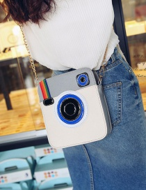 Fashion White Camera Shape Decorated Shoulder Bag