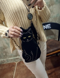 Fashion Black Cat Shape Decorated Shoulder Bag