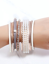 Fashion Gold Color+white Diamond Decorated Bracelet (8 Pcs)