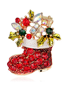 Fashion Red Boots Shape Decorated Brooch