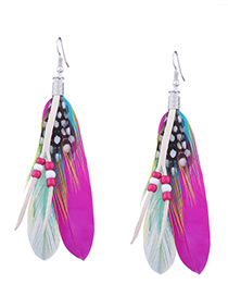 Fashion Plum Red Tassel Decorated Earrings