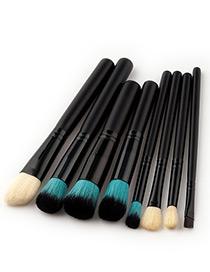 Fashion Black Pure Color Decorated Makeup Brush ( 8 Pcs )