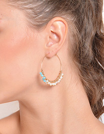 Fashion Gold Color Bead Decorated Earrings