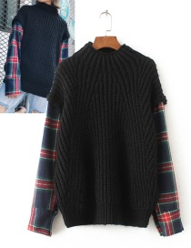 Fashion Black Grid Pattern Decorated Sweater