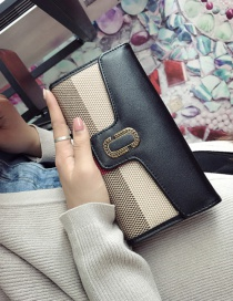 Fashion Black Color Matching Decorated Wallet