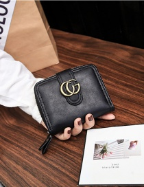 Fashion Black Pure Color Decorated Wallet