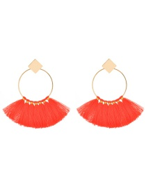 Fashion Red Tassel Decorated Sector Shape Earrings