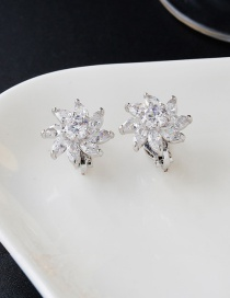 Elegant Silver Color Oval Diamond Decorated Flower Shape Earrings