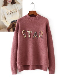 Fashion Brick Red Letter Pattern Decorated Sweater
