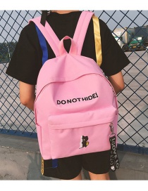 Fashion Pink Letter&bear Pattern Decorated Backpack