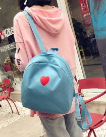 Fashion Light Blue Heart Pattern Deocrated Backpack
