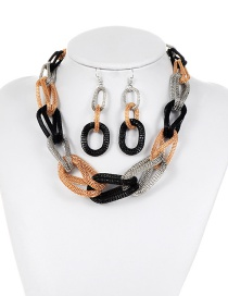 Fashion Silver Color+black Color Matching Decorated Jewelry Set