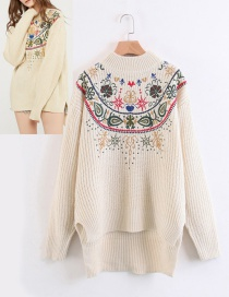Fashion Beige Embroidery Flower Decorated Sweater