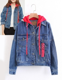 Fashion Blue+red Pure Color Decorated Coat