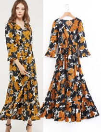 Fashion Yellow Flower Pattern Decorated Dress