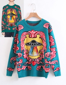 Fashion Red+blue Color Matching Decorated Sweater