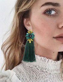 Fashion Dark Green Tassel Decorated Earrings