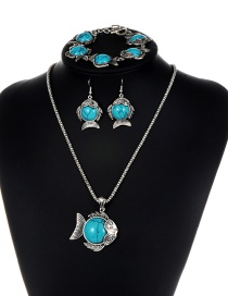 Fashion Blue Fish Shape Decorated Jewelry Set ( 3 Pcs)