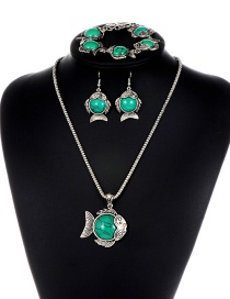 Fashion Green Fish Shape Decorated Jewelry Set ( 3 Pcs)