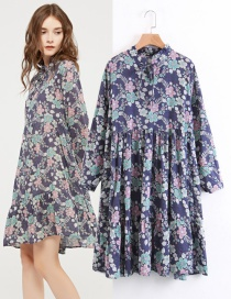 Fashion Blue+gray Flower Pattern Decorated Dress