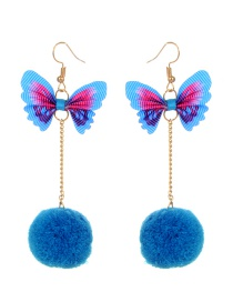 Fashion Blue Butterfly Shape Decorated Earrings