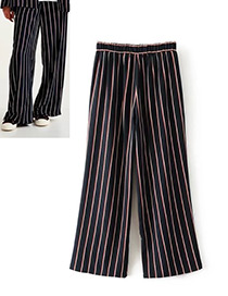 Fashion Black Stripe Pattern Decorated Trousers