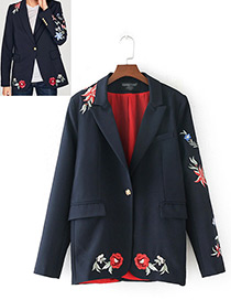 Fashion Navy Embroidery Flower Decorated Simple Coat