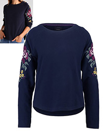 Fashion Navy Flower Decorated Round Neckline Hoodie