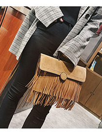 Trendy Brown Tassel Decorated Pure Color Shoulder Bag