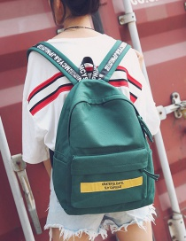 Fashion Green Letter Pattern Decorated Backpack