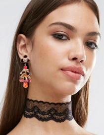 Fashion Red Flower Shape Decorated Simple Earrings