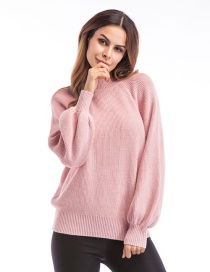 Trendy Pink Pure Color Decorated Round Neckline Sweater