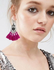 Fashion Plum Red Flower&tassel Decorated Simple Earrings