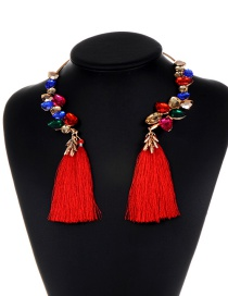 Fashion Multi-color Diamond&tassel Decorated Simple Necklace