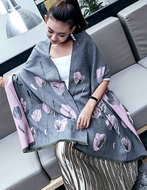 Trendy Gray+pink Flower Pattern Decorated Thicken Warm Scarf