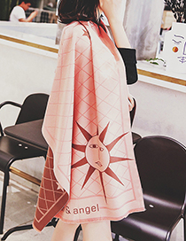 Trendy Pink Sun Pattern Decorated Dual-use Scarf