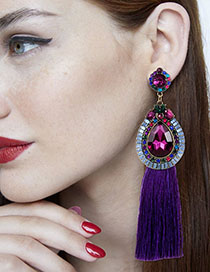 Fashion Purple Diamond Decorated Long Tassel Earrings