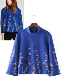 Trendy Sapphire Blue Flower Pattern Decorated Long Sleeves Blouse