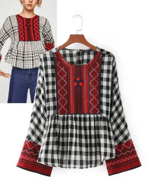 Trendy Red+black Grid Pattern Decorated Embroidery Blouse